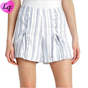 ABBELINE Double Front Laced Striped Shorts